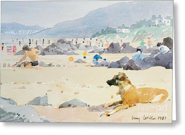 Dog On The Beach Woolacombe Greeting Card