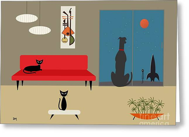 Dog Spies Alien Greeting Card by Donna Mibus