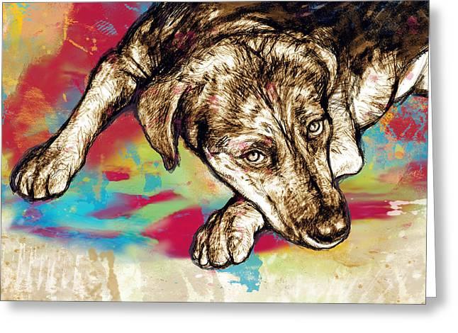 Dog Stylized Pop Modern Art Drawing Sketch Portrait Greeting Card