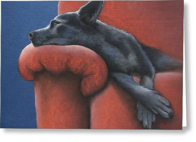 Greeting Card featuring the drawing Dog Tired by Cynthia House