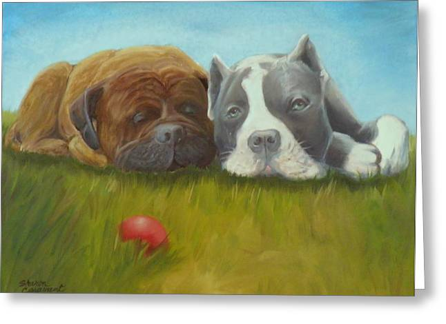Dog Tired Greeting Card by Sharon Casavant