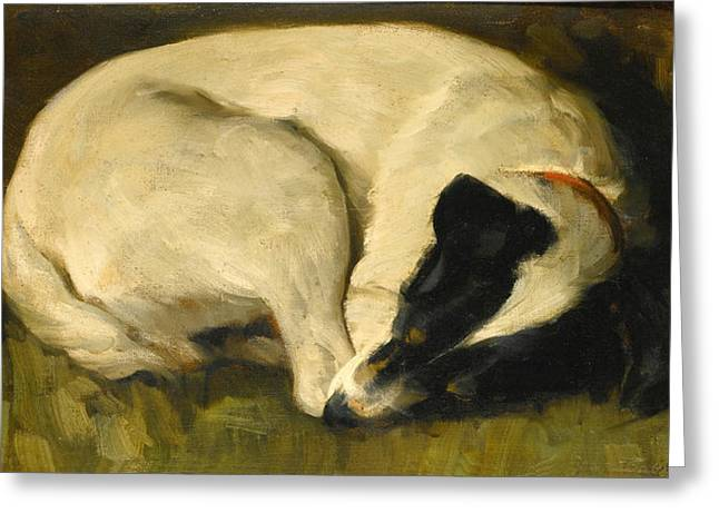Dog-tired Greeting Card by Valentine Thomas Garland