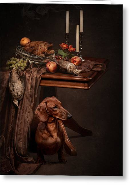Dog Under The Table Greeting Card by Tanya Kozlovsky