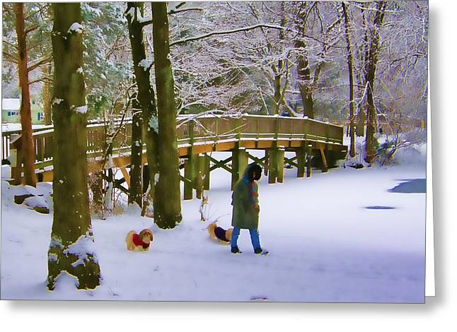 Dog Walker In Snow 3 Greeting Card by James Yellen