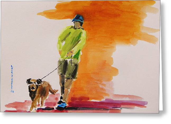 Dog Walker Greeting Card by John Williams