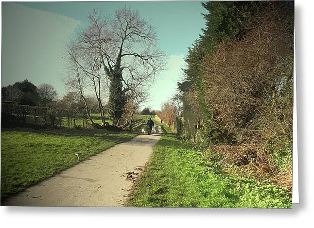 Dog-walker On Former Canal Route, Path, Cycleway And Route Greeting Card