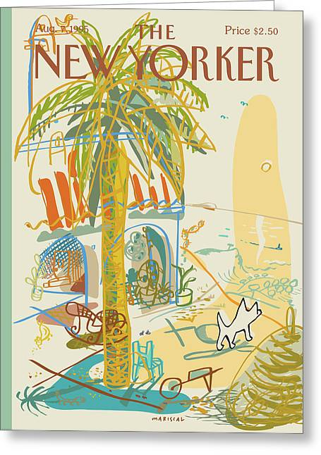 Dog Walking Under A Palm Tree Greeting Card