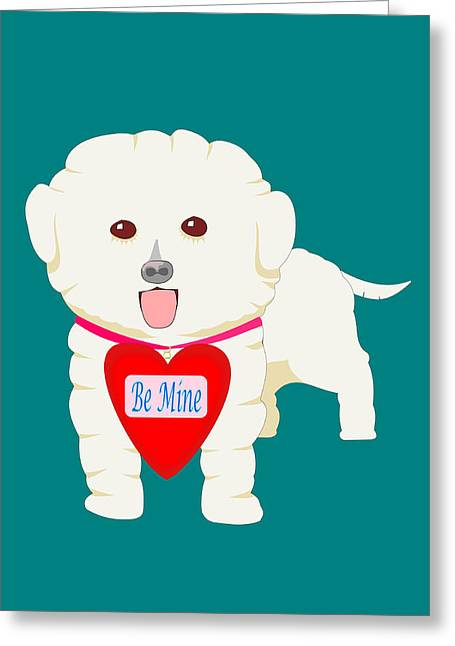 Dog With Be Mine Valentine Greeting Card