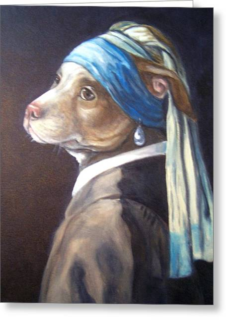 Dog With Pearl Earring Greeting Card
