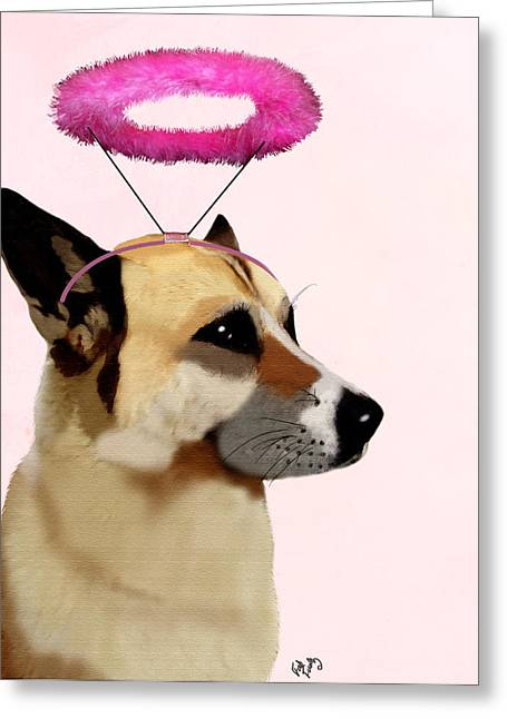 Dog With Pink Halo Greeting Card by Kelly McLaughlan