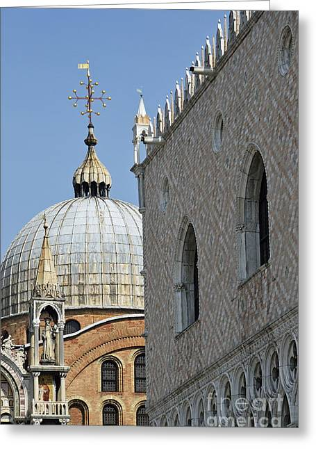 Doges Palace And San Marco Basilica Greeting Card by Sami Sarkis