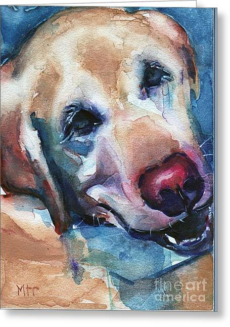 Doggie Breath Greeting Card by Maria's Watercolor
