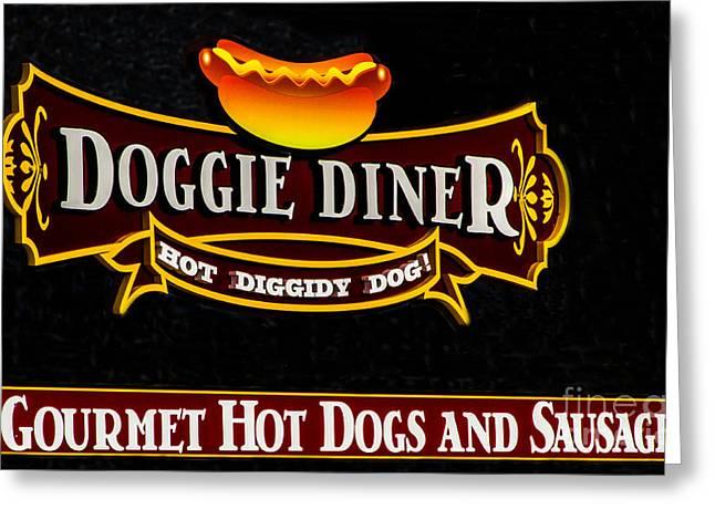 Doggie Diner Greeting Card by Mitch Shindelbower
