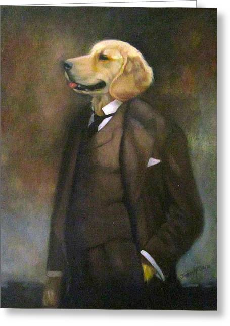 Doggone Executive Greeting Card by Janet McGrath