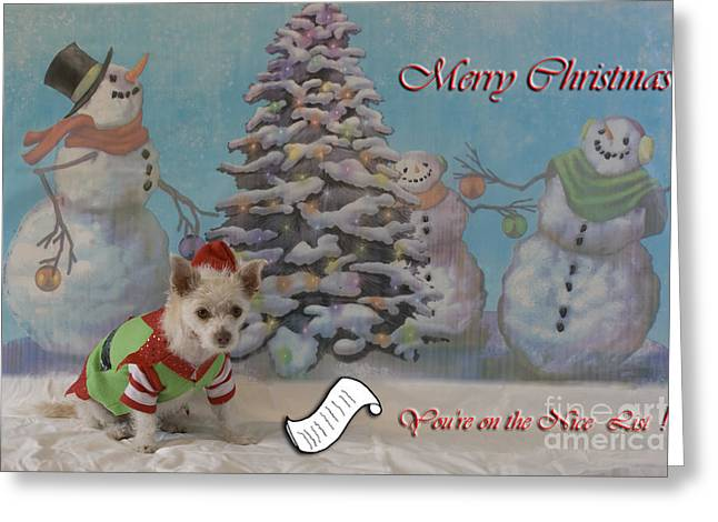 Doggy Elf Nice List Greeting Card