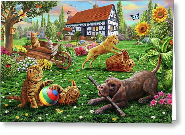 Dogs And Cats At Play Greeting Card