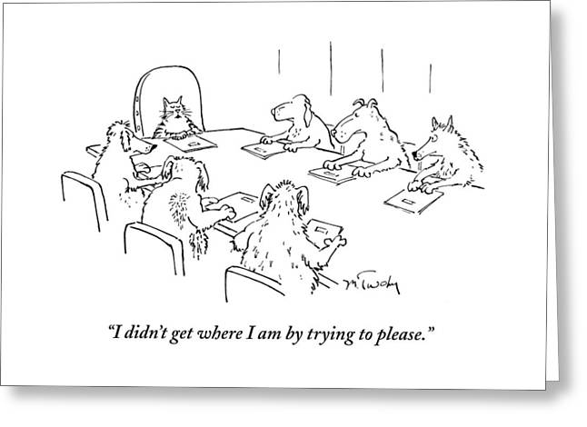 Dogs At A Meeting Greeting Card