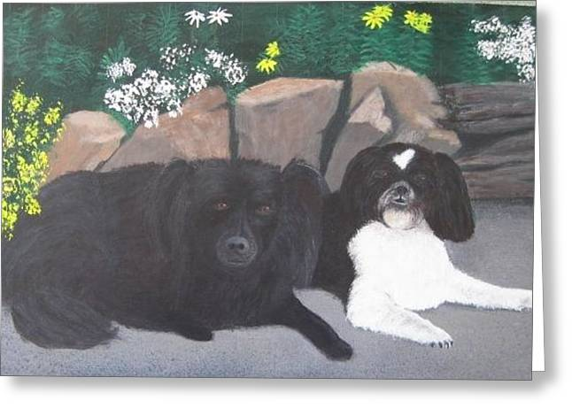 Dogs Daisy And Buttons Greeting Card