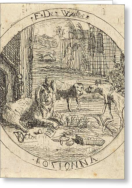 Dogs In A Doghouse, Franz De Wilde Greeting Card