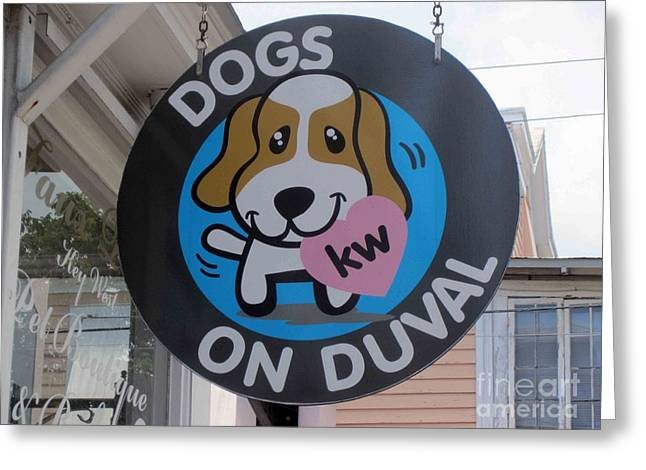 Dogs On Duval Greeting Card by Fiona Kennard