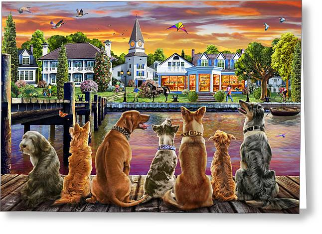 Dogs On The Quay Greeting Card