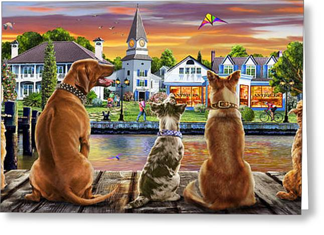 Dogs On The Quay Variant 1 Greeting Card