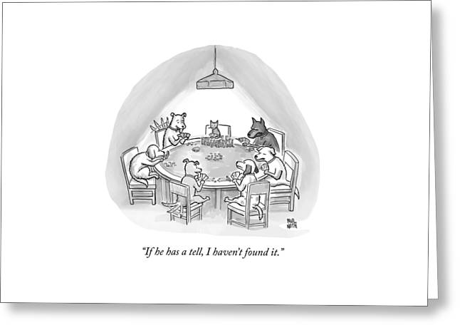 Dogs Playing Poker Refer Angrily To A Cat Who Greeting Card by Paul Noth