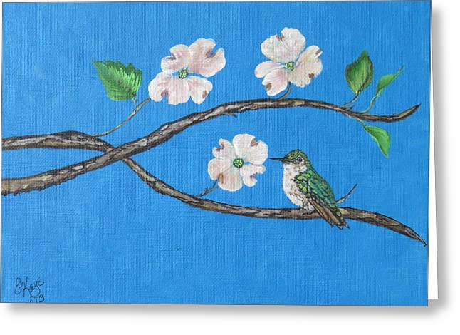 Greeting Card featuring the painting Dogwood And Hummingbird by Ella Kaye Dickey