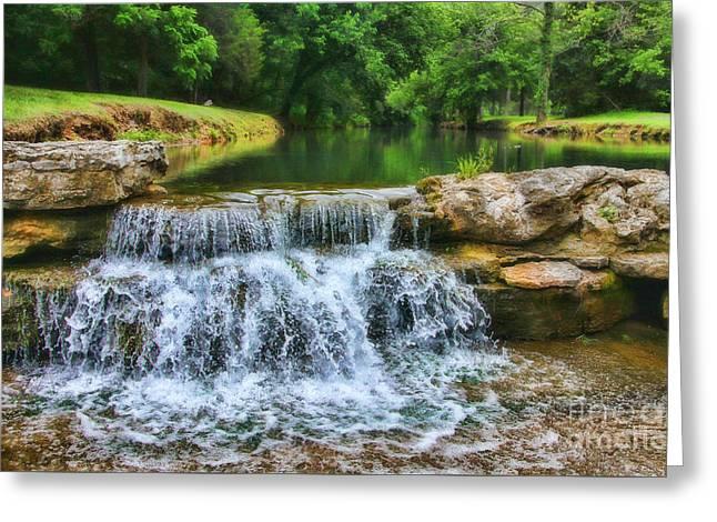 Dogwood Canyon Falls Greeting Card by Elizabeth Winter