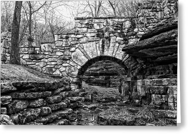 Dogwood Canyon Stone Bridge Greeting Card by David Waldo