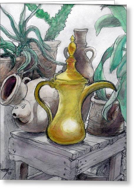 Doha Coffee Urn Greeting Card by Jack Adams