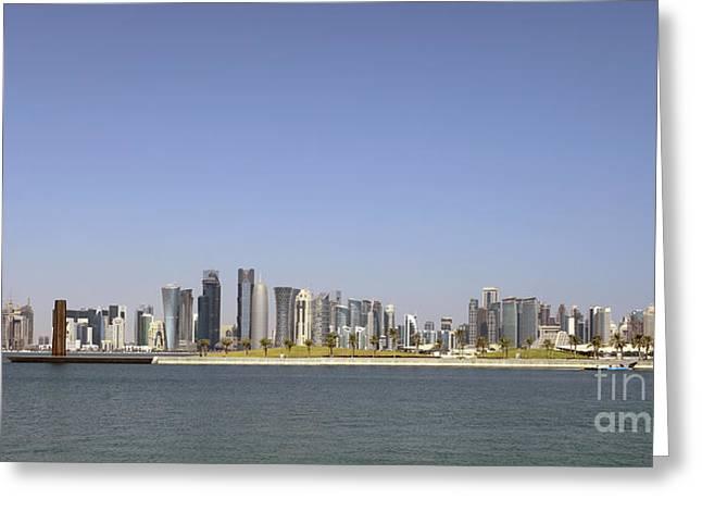 Doha Skyline Panorama Greeting Card by Paul Cowan