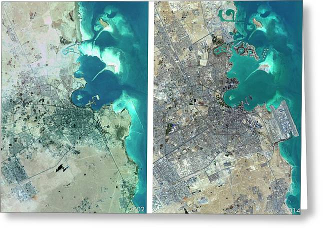 Doha Urban Spread Greeting Card by Planetobserver