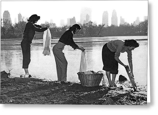 Doing Laundry In Central Park Greeting Card by Underwood Archives