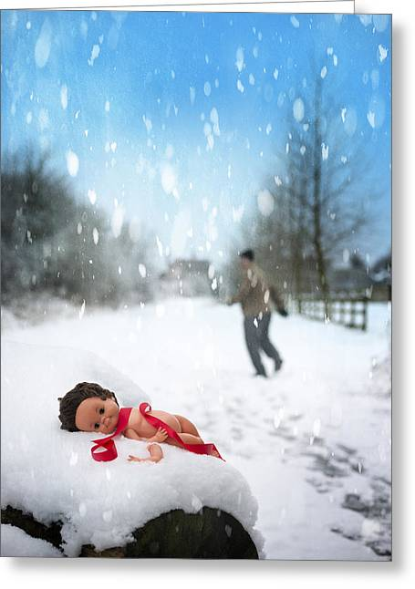 Doll Abandoned In Snow Greeting Card by Amanda Elwell