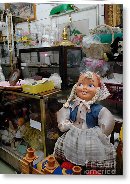 Doll And Other Items In Antique Shop Greeting Card
