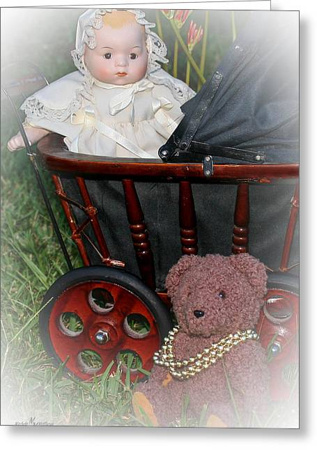 Doll And Teddy Greeting Card