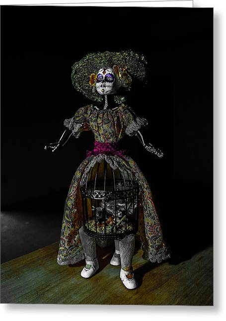 Doll With Dead Bird In New Orleans Greeting Card