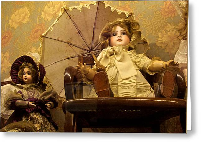 Antique Doll In Chair With Parasol Greeting Card