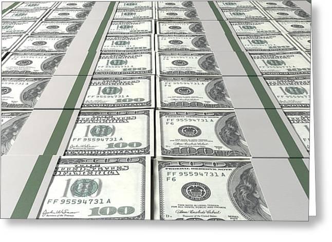 Dollar Bill Bundles Laid Out Greeting Card by Allan Swart