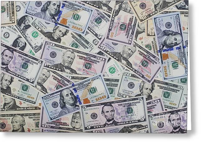 Dollar Bills Greeting Card by Tim Gainey