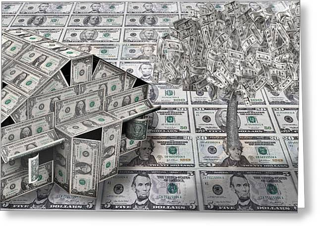 Dollar House With Money Tree Greeting Card
