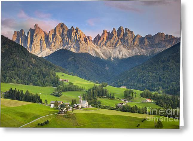 Dolomites From Val Di Funes Greeting Card