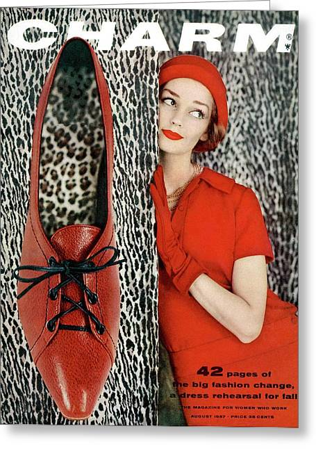 Dolores Hawkins Wears A Dachettes Hat And Red Greeting Card by Carmen Schiavone