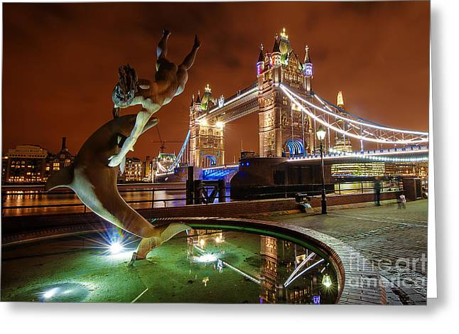 Dolphin Fountain Tower Bridge London Greeting Card by Donald Davis