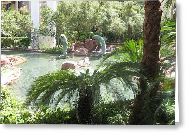 Dolphin Pond And Garden Green Greeting Card by Navin Joshi
