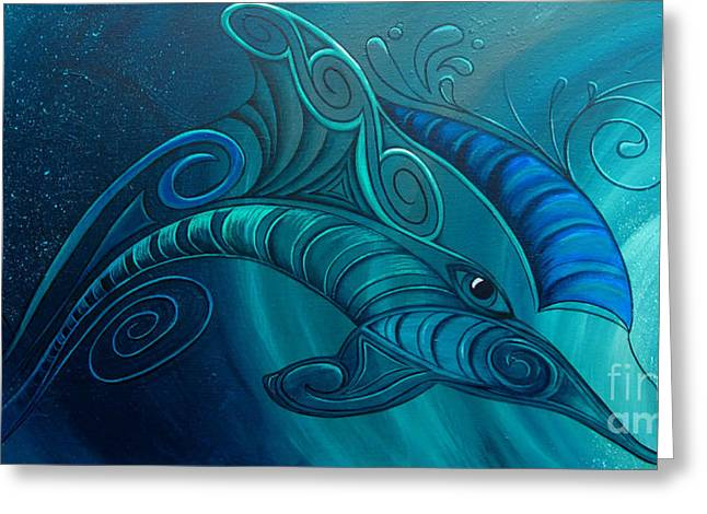 Dolphin Rua Greeting Card by Reina Cottier