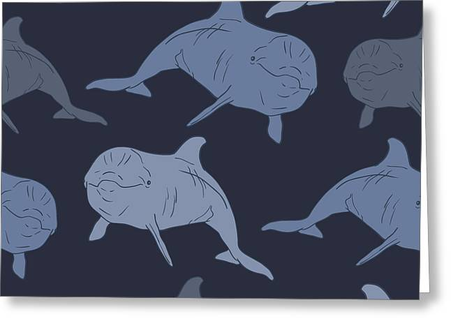 Dolphin Seamless Vector Pattern Greeting Card
