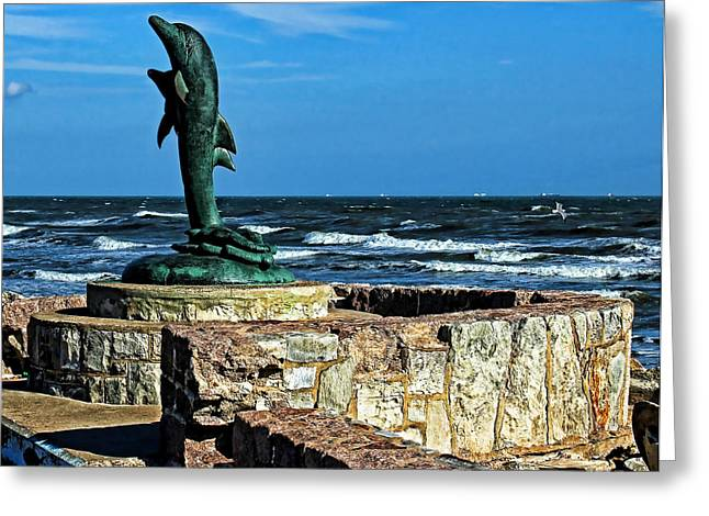 Dolphin Statue Greeting Card by Judy Vincent