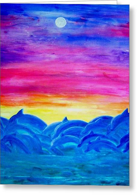 Dolphin Sunset Greeting Card by Sheri Salin